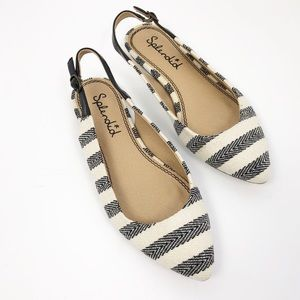 Splendid | Canvas Striped Slingback Pointed Flats
